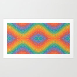 Colorful Liquid Holographic Pattern Abstract Rainbow Waves Art Print