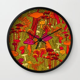 Mushrooms in the Forest Wall Clock