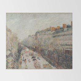 Mardi Gras on Monmartre Boulevard in Paris by Camille Pissarro Throw Blanket