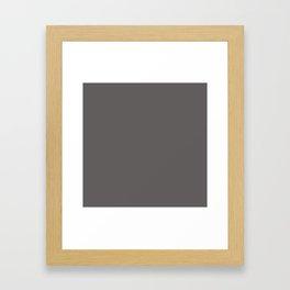Solid Dark Carbon Gray Color Framed Art Print
