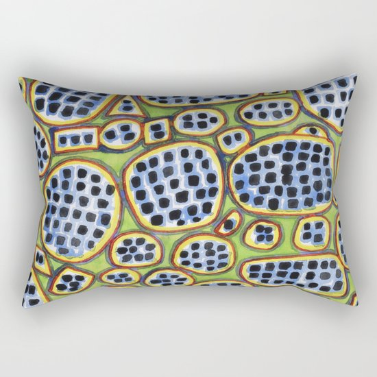 Blue-Black Seeds Pattern Rectangular Pillow