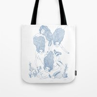 mermaids Tote Bags featuring Mermaids by Veils and Mirrors