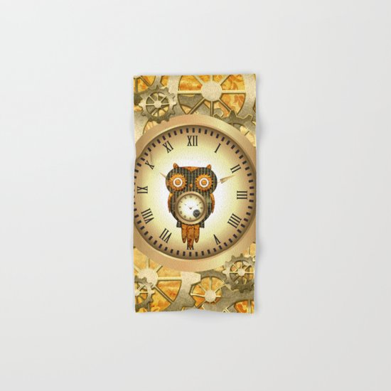 Steampunk, cute owl Hand & Bath Towel