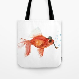 Goldfish with pipe and hat Tote Bag