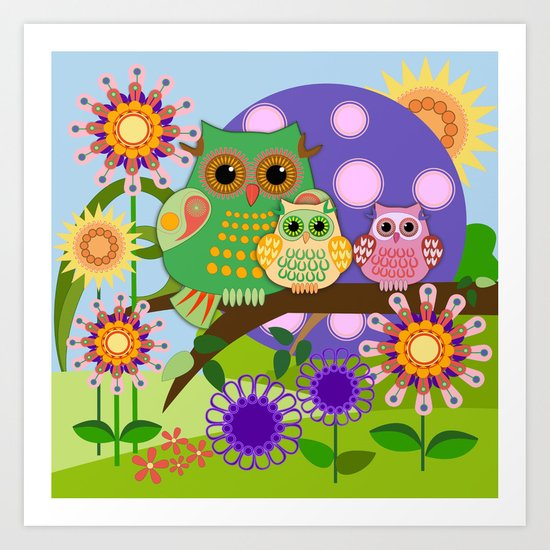 Owls, Flowers Fantasy design Art Print