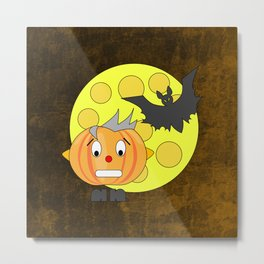 Funny teeth clenched pumpkin head with bat and moon Metal Print