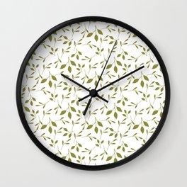 White & Green Leaf Pattern Wall Clock