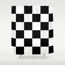 Large Checkered - White and Black Shower Curtain