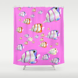 Tropical fish pink edition Shower Curtain