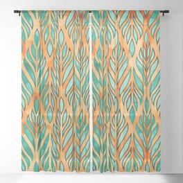 Watercolor leaves pattern Sheer Curtain