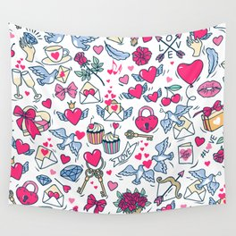 Valentine's Day.  Pattern for St. Valentine. White background. Wall Tapestry