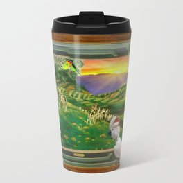 "Springtime Grazing in Napa Valley 24"" x 36"" oil over clay with illustrations of our rescued parrots Travel Mug"