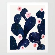 Cactus Bloom Midnight Art Print