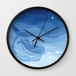 Mermaid, watercolor, blue, fish Wall Clock