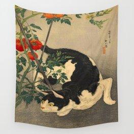 Shotei Takahashi Black & White Cat Tomato Garden Japanese Woodblock Print Wall Tapestry