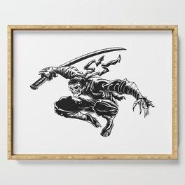 Ninja skeleton attacking , skull illustration , dark samurai , black warrior , gothic halloween Serving Tray