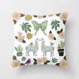 Llama and Luna Moth Throw Pillow