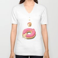 donut V-neck T-shirts featuring Donut by Fightstacy