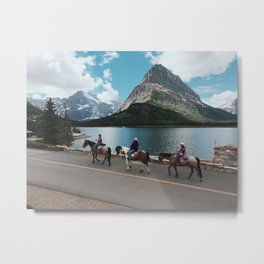 Horseback Riding, Swiftcurrent Lake, Many Glacier, Glacier National Park, Montana Metal Print