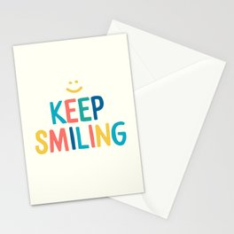 Keep Smiling - Colorful Happiness Quote Stationery Cards