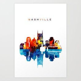 Nashville City Skyline Art Print