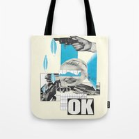 kim sy ok Tote Bags featuring OK by collageriittard