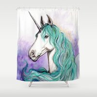 unicorn Shower Curtains featuring Unicorn by Pendientera