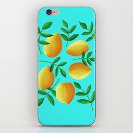 Lemons on Teal iPhone Skin