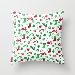 Red And Green Christmas Objects Decor Throw Pillow