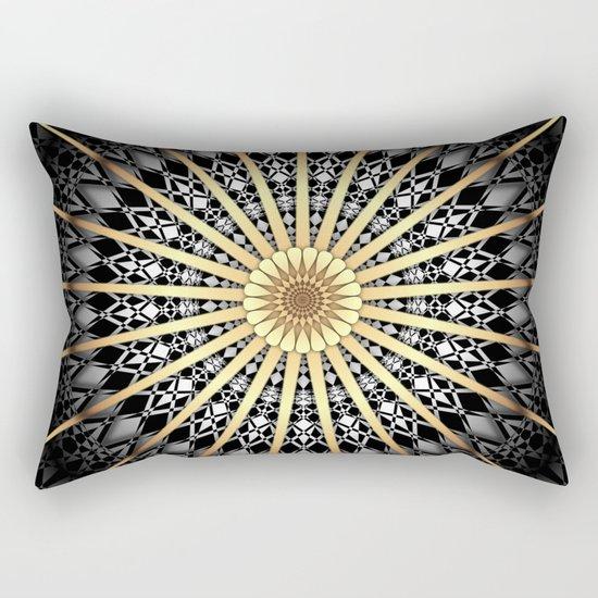 Black White Gold Mandala 2 Rectangular Pillow