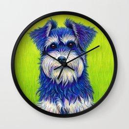 Colorful Miniature Schnauzer Dog Pet Portrait Wall Clock