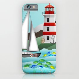 Coastal Sailing - Nautical Landscape Scene iPhone Case