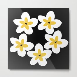 Yellow Plumeria Lei (Black) Metal Print