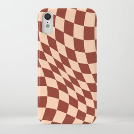 Warped Check Light Brown  iPhone Case