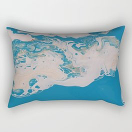 Turquoise Blue Fluid Liquid Art White Abstract Cloud look Rectangular Pillow