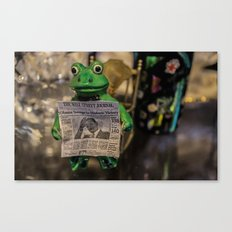 Froggy Reads the Wall Street Journal Canvas Print