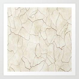 Abstract elegant brown ivory modern trendy marble Art Print