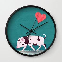 Baby Pig With Heart Balloon Wall Clock