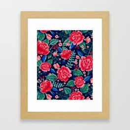 Red Roses with Green & Blue Leaves - Floral Pattern Framed Art Print