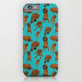 Redbone Coonhound on Turquoise iPhone Case