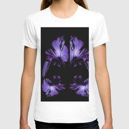 A Purple Hibiscus On Black T-shirt
