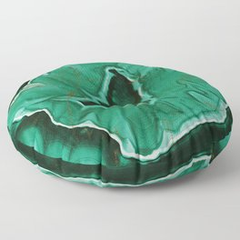 Malachite Marble With Gold Veins Floor Pillow
