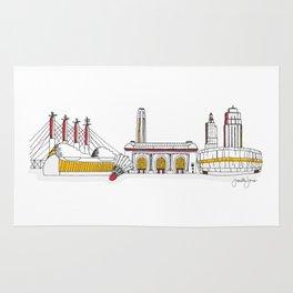 Kansas City Skyline Illustration in KC Football Colors Rug