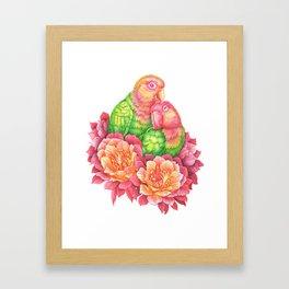 Lovebirds and Cactus Flowers Framed Art Print