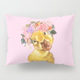 Yellow Duckling with Flowers Crown Pillow Sham