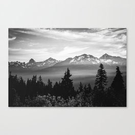 Morning in the Mountains Black and White Canvas Print