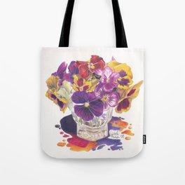 Pansy Color Splash Tote Bag