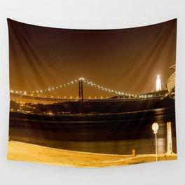 Lisbon bridge light Wall Tapestry