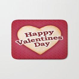 Heart Shaped Happy Valentine Day Text Design Bath Mat