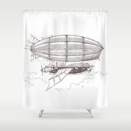 Airship sketch in Steampunk style Shower Curtain